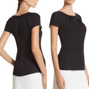 WHBM 100% Silk Black Short Sleeve Blouse